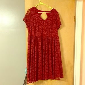 RED LACE T-SHIRT SKATER DRESS